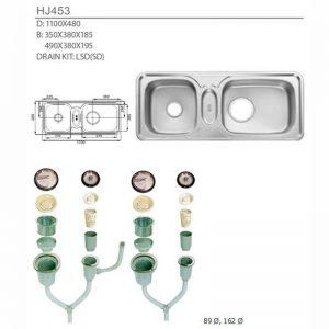 Bộ chậu rửa bát inox hai hố lệch Samwon HJ 453