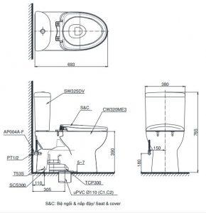 Bản vẽ kĩ thuật bàn cầu 2 khối TOTO CS325DRT2 (CST325DTS)