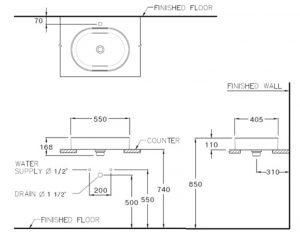 Bản vẽ kỹ thuật chậu rửa Lavabo dương vành COTTO C001017