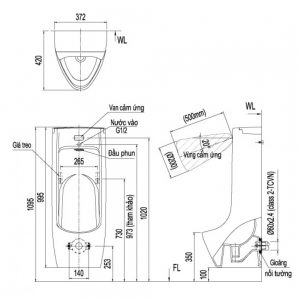 Kích thước bồn tiểu nam cảm ứng tự động Inax ASU-500V