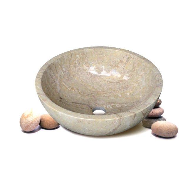 Chậu rửa mặt lavabo bằng đá tự nhiên R11N màu vàng kem